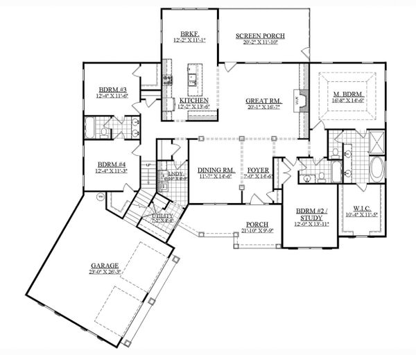 Ranch Floor Plan - Main Floor Plan Plan #1071-13