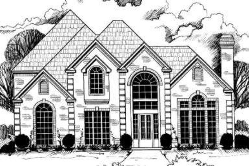 European Style House Plan - 5 Beds 5.5 Baths 3602 Sq/Ft Plan #317-121 Exterior - Front Elevation