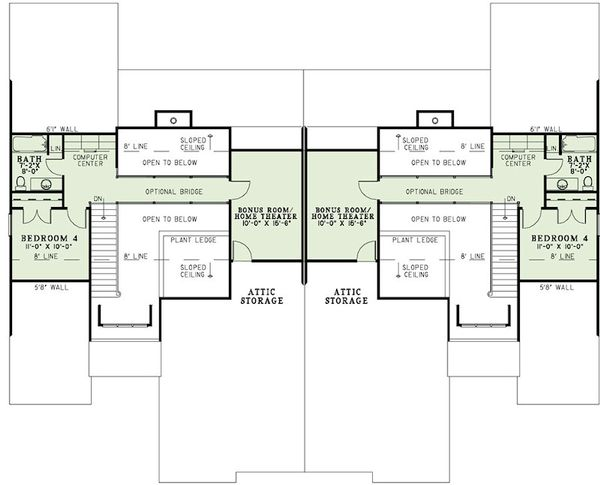 Country Floor Plan - Upper Floor Plan #17-2402