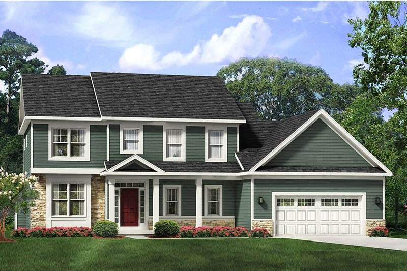 Traditional Style House Plan - 4 Beds 2.5 Baths 2637 Sq/Ft Plan #1010-247 Exterior - Front Elevation