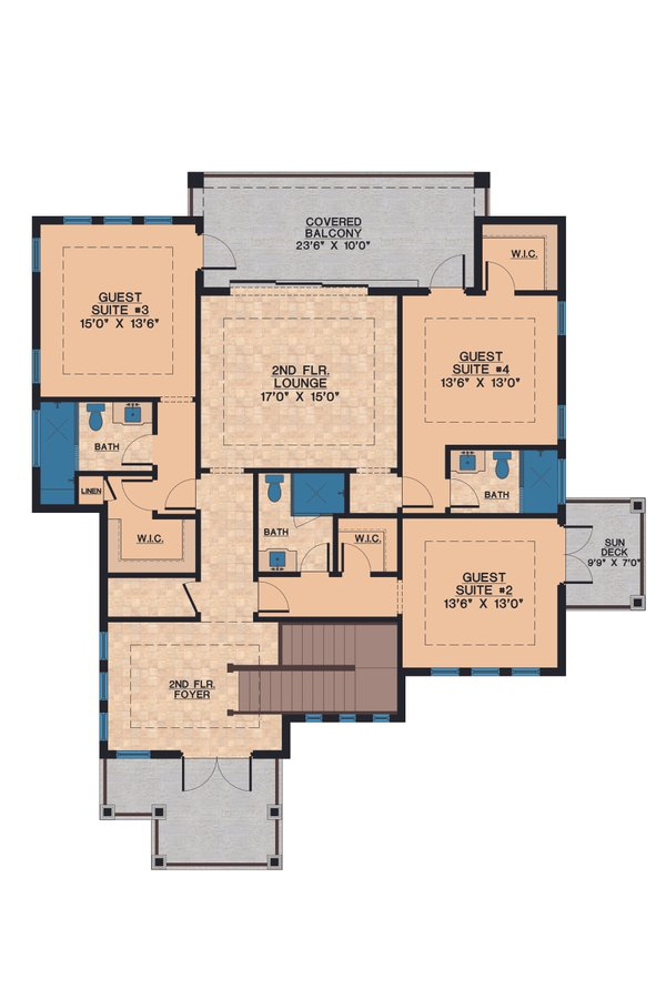 Contemporary Floor Plan - Upper Floor Plan Plan #548-21