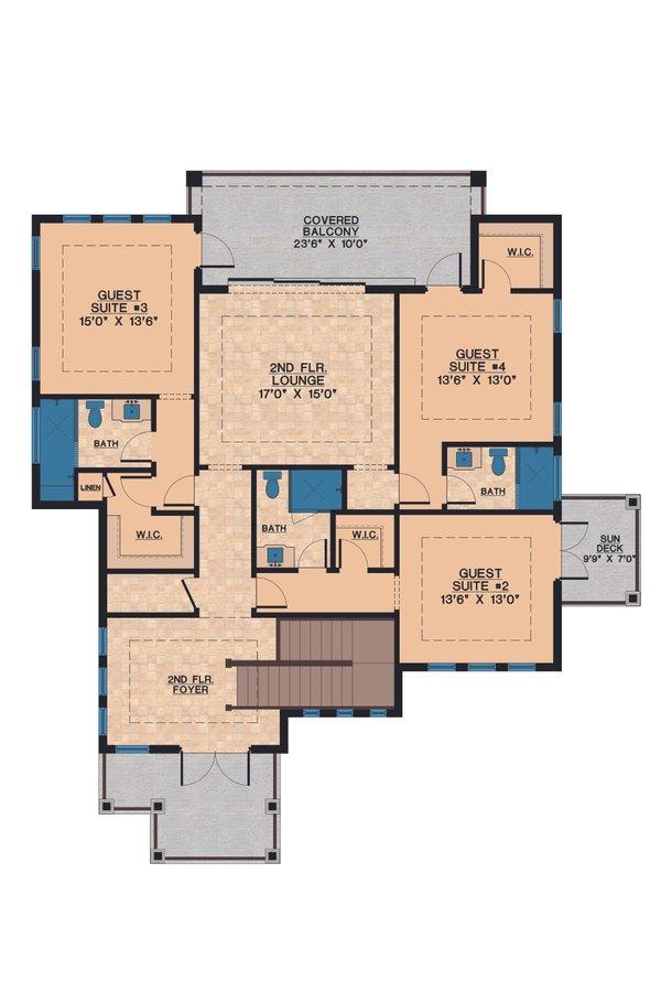 Contemporary Floor Plan - Upper Floor Plan Plan #548-21
