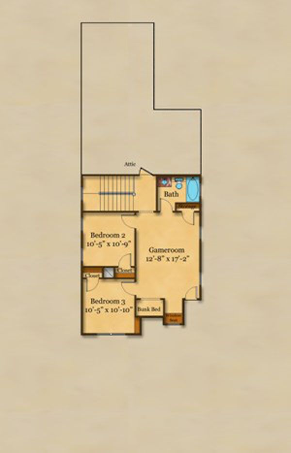 Cottage Floor Plan - Upper Floor Plan Plan #442-1
