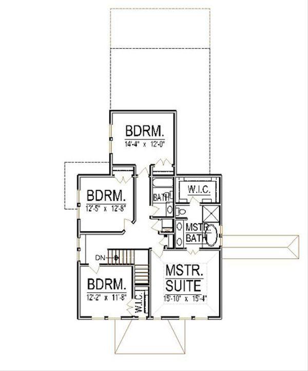 Craftsman Floor Plan - Upper Floor Plan Plan #458-12