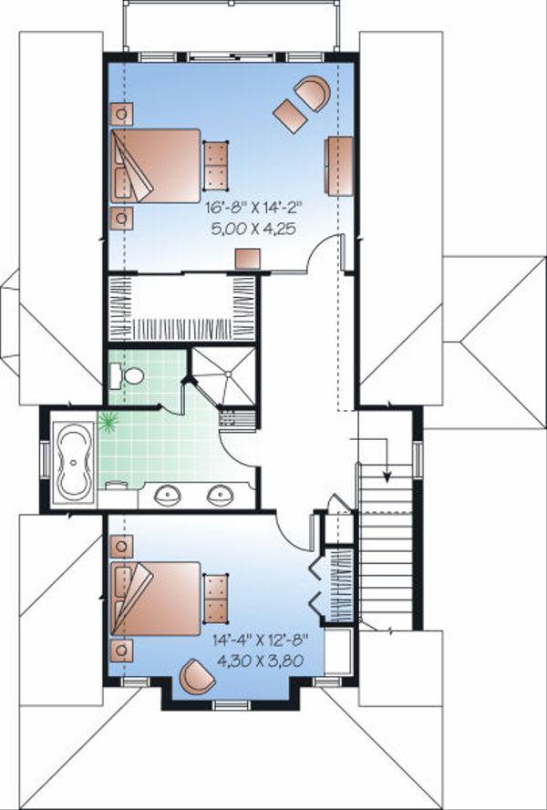 Traditional Floor Plan - Upper Floor Plan Plan #23-825
