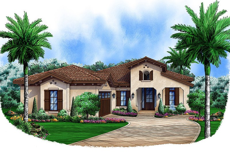Adobe / Southwestern Style House Plan - 3 Beds 3 Baths 2583 Sq/Ft Plan #27-460 Exterior - Front Elevation