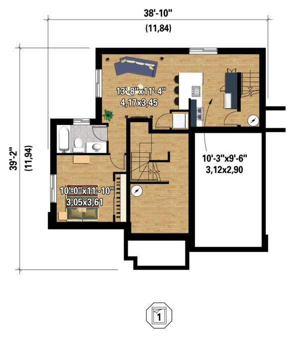 Contemporary Floor Plan - Lower Floor Plan Plan #25-4379