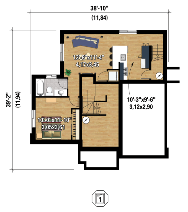 Contemporary Floor Plan - Lower Floor Plan #25-4379