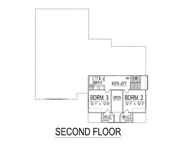 Craftsman Floor Plan - Upper Floor Plan Plan #458-10