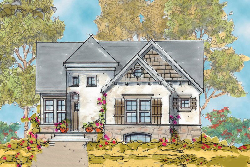 European Exterior - Front Elevation Plan #20-1721