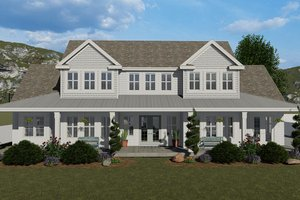 Dream House Plan - Farmhouse Exterior - Front Elevation Plan #1060-48