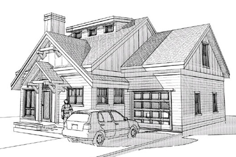 Craftsman Style House Plan - 4 Beds 2 Baths 1648 Sq/Ft Plan #451-7 Exterior - Front Elevation