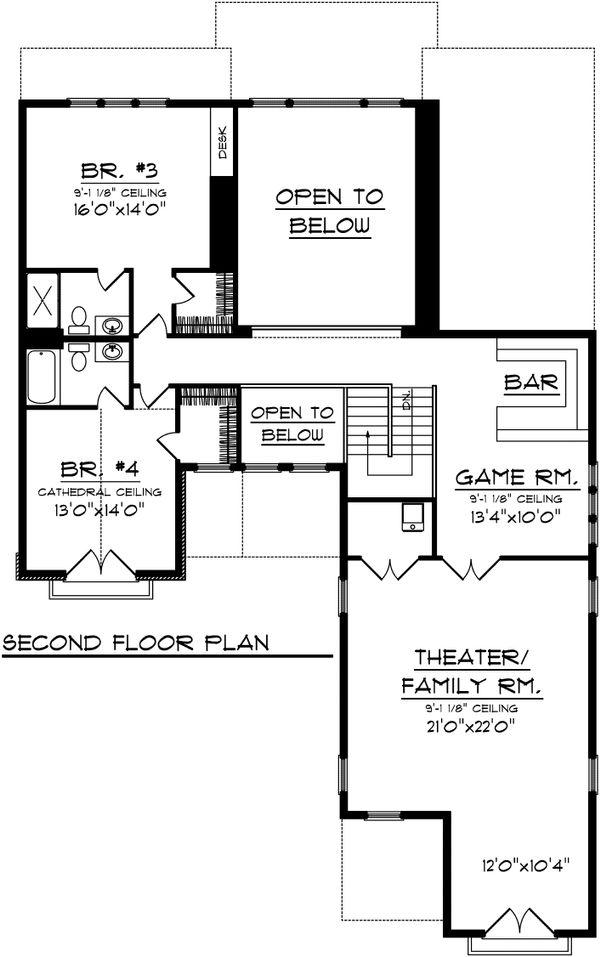 Traditional Floor Plan - Upper Floor Plan Plan #70-1108