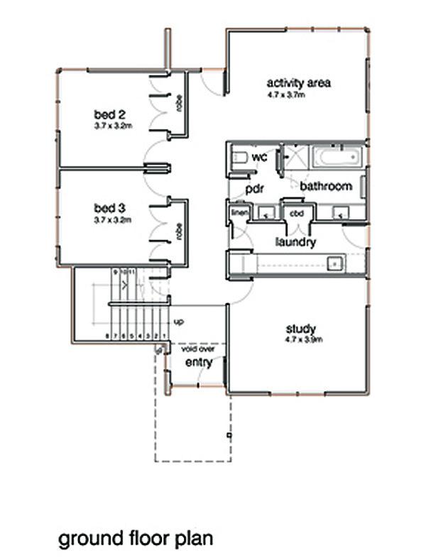 Modern Floor Plan - Upper Floor Plan Plan #496-20