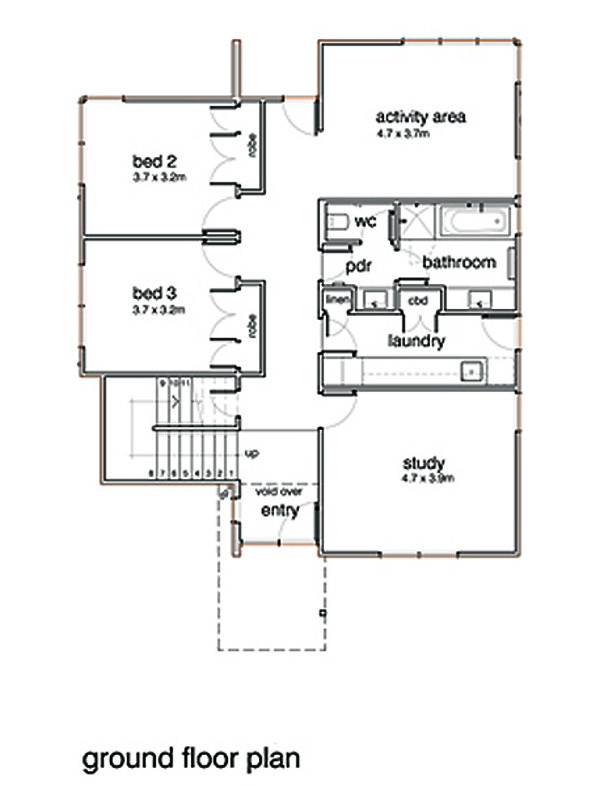 Modern Floor Plan - Upper Floor Plan #496-20