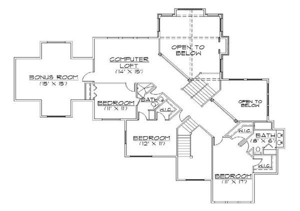 House Plan Design - Traditional Floor Plan - Upper Floor Plan #5-433