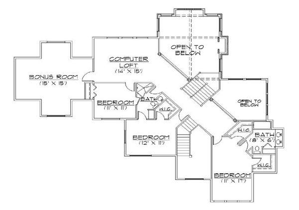 Dream House Plan - Traditional Floor Plan - Upper Floor Plan #5-433