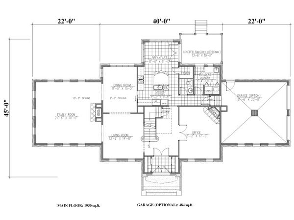 European Floor Plan - Main Floor Plan Plan #138-339