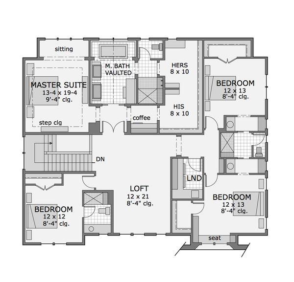 Craftsman Floor Plan - Upper Floor Plan Plan #51-565