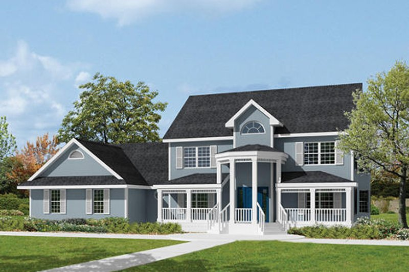 Southern Exterior - Front Elevation Plan #57-230