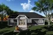 Craftsman Style House Plan - 3 Beds 2 Baths 1840 Sq/Ft Plan #70-1267 Exterior - Rear Elevation