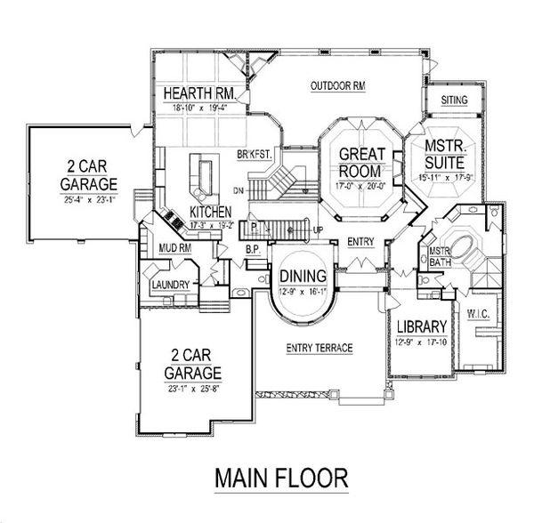 European Floor Plan - Main Floor Plan Plan #458-21
