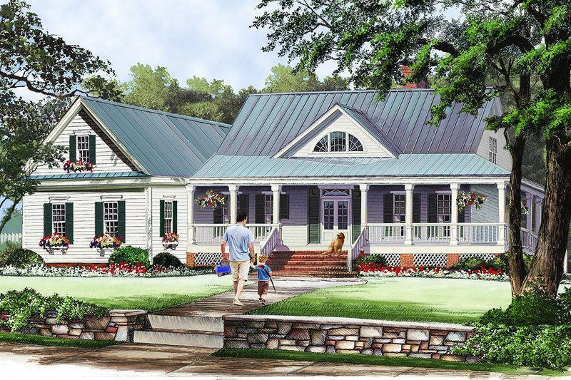 Farmhouse Style House Plan - 3 Beds 2.5 Baths 2010 Sq/Ft Plan #137-376 Exterior - Front Elevation