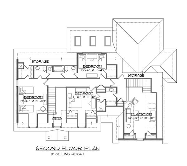Traditional Floor Plan - Upper Floor Plan Plan #1054-61