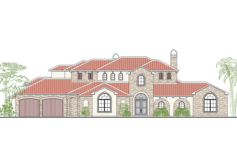 Dream House Plan - Mediterranean Exterior - Front Elevation Plan #80-214