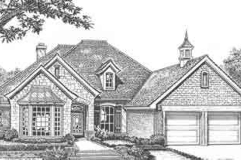 European Style House Plan - 4 Beds 3 Baths 2137 Sq/Ft Plan #310-412 Exterior - Front Elevation