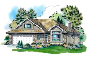Traditional Exterior - Front Elevation Plan #18-1003
