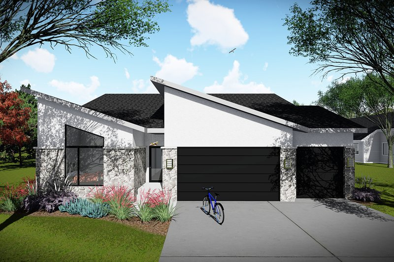 Ranch Style House Plan - 3 Beds 2 Baths 1742 Sq/Ft Plan #70-1491 Exterior - Front Elevation