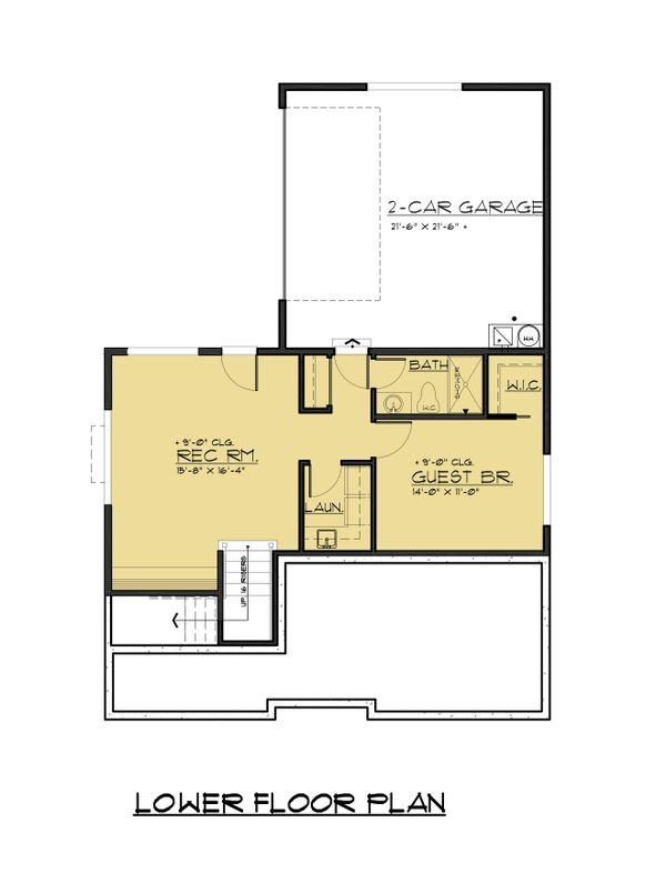 Modern Floor Plan - Lower Floor Plan Plan #1066-67