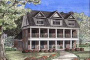 Southern Style House Plan - 3 Beds 3 Baths 2890 Sq/Ft Plan #17-416 Exterior - Front Elevation