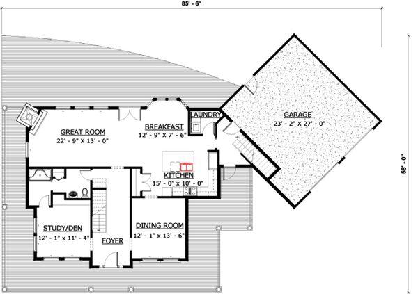 Farmhouse Floor Plan - Main Floor Plan Plan #524-15