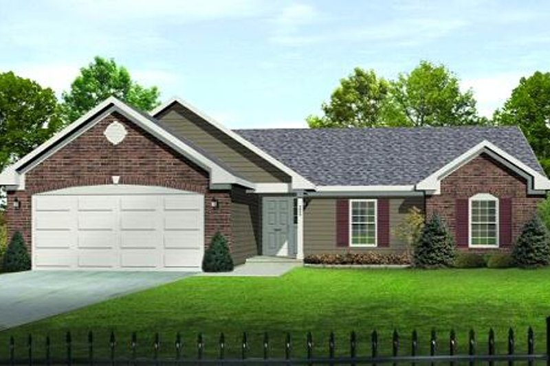 Traditional Style House Plan - 3 Beds 2.5 Baths 1568 Sq/Ft Plan #22-521 Exterior - Front Elevation