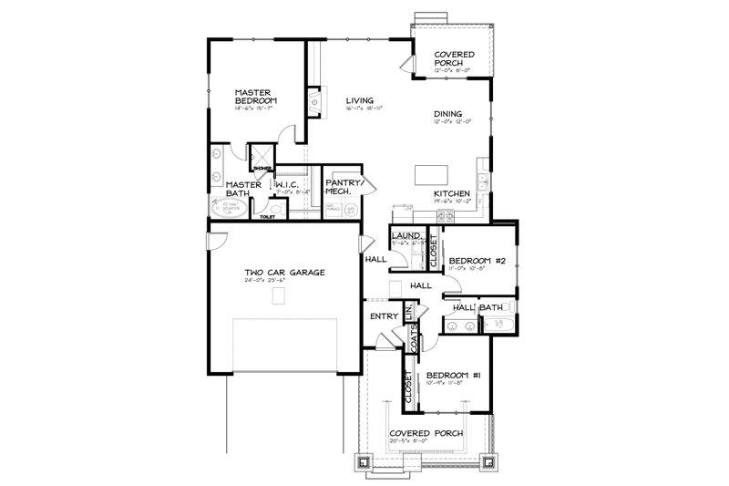 Bungalow Floor Plan - Main Floor Plan Plan #434-7