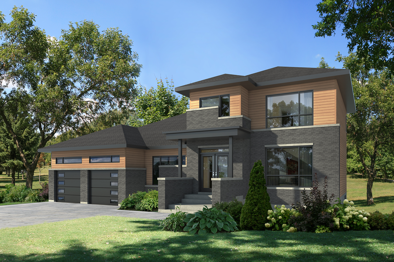 Contemporary Style House Plan - 4 Beds 3 Baths 2713 Sq/Ft Plan #25-4609 Exterior - Front Elevation