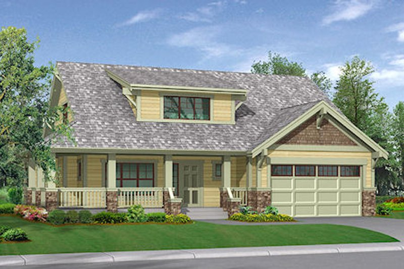 Craftsman Style House Plan - 3 Beds 2.5 Baths 2213 Sq/Ft Plan #132-109 Exterior - Front Elevation