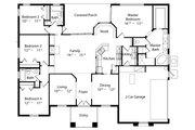 Mediterranean Style House Plan - 4 Beds 3 Baths 2140 Sq/Ft Plan #417-198 Floor Plan - Main Floor Plan