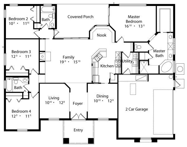 Mediterranean Floor Plan - Main Floor Plan Plan #417-198