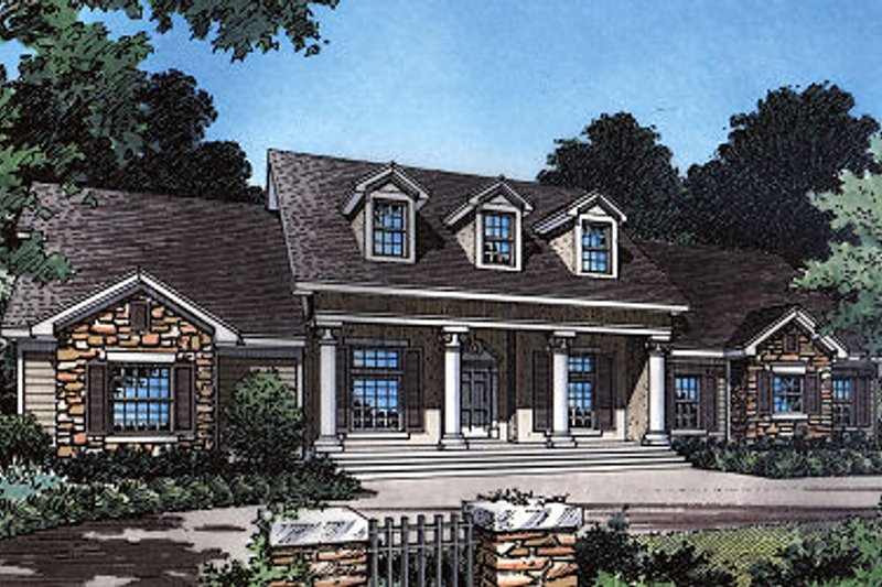 Colonial Style House Plan - 4 Beds 3 Baths 2668 Sq/Ft Plan #417-301 Exterior - Front Elevation