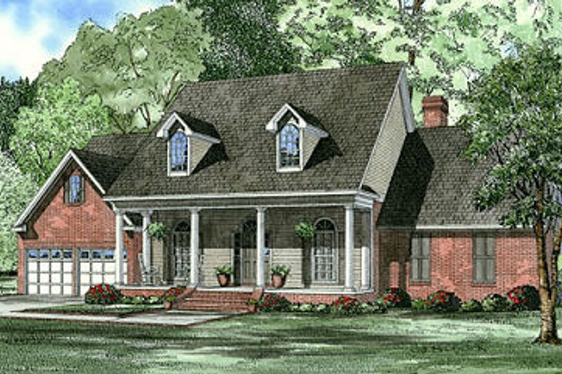 Traditional Style House Plan - 4 Beds 3 Baths 2458 Sq/Ft Plan #17-1178 Exterior - Front Elevation