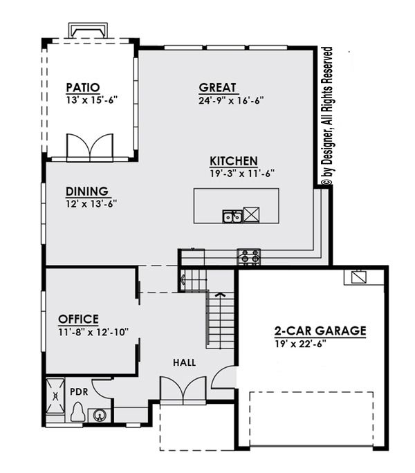 Modern Style House Plan - 4 Beds 3.5 Baths 3595 Sq/Ft Plan #1066-3 Floor Plan - Main Floor Plan