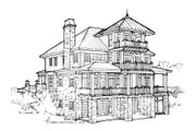 Craftsman Style House Plan - 3 Beds 3 Baths 3677 Sq/Ft Plan #928-7 Exterior - Rear Elevation
