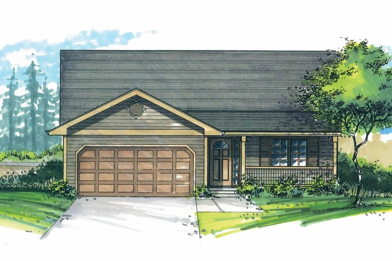 Craftsman Exterior - Front Elevation Plan #53-609