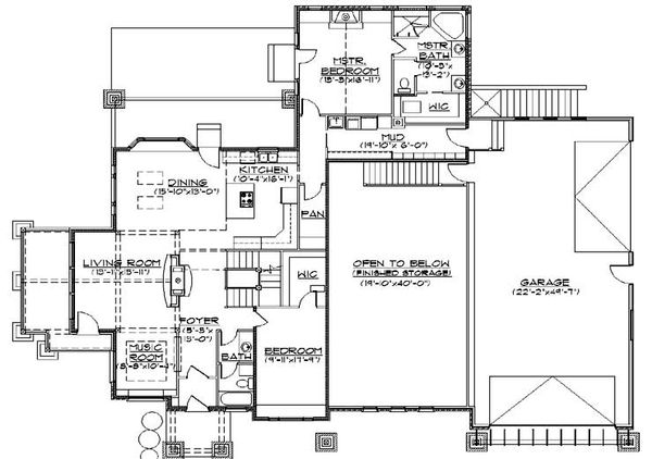Bungalow Floor Plan - Main Floor Plan Plan #5-386