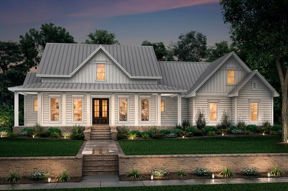 Dream House Plan - Farmhouse Exterior - Front Elevation Plan #430-160