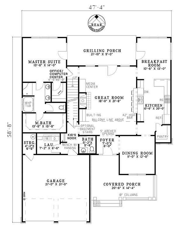 Dream House Plan - Traditional house plan with Craftsman floor plan