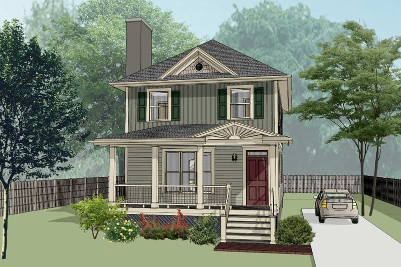 Southern Exterior - Front Elevation Plan #79-196